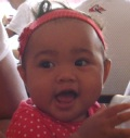 Happy Ariah after taking first steps
